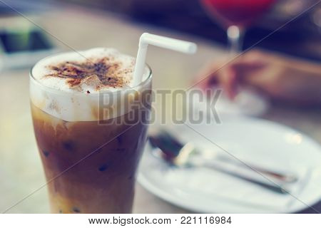 Iced cappuccino coffee in bakery coffee shop.
