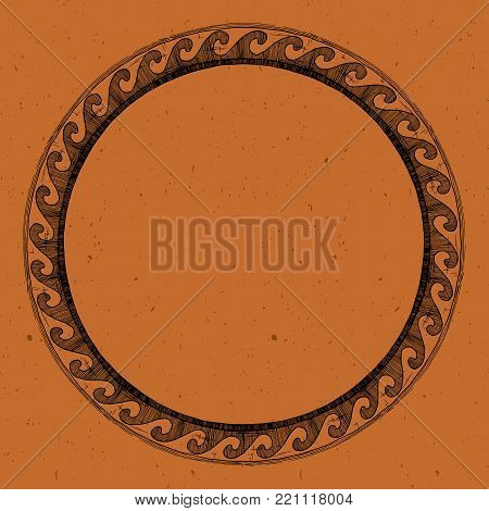 Round Greek ornament with wave in black-figure pottery painting style.