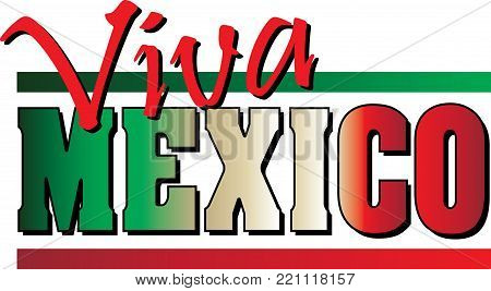 Viva Mexico Banner with Mexican Flag colors