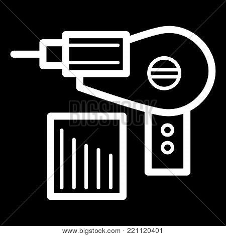 Electric drill simple vector icon. Black and white illustration of repairs. Outline linear icon. eps 10