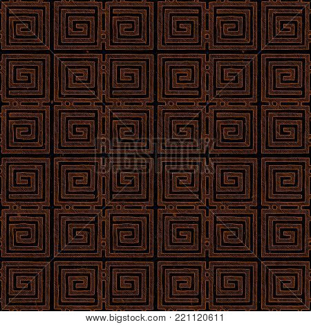 Seamless pattern with Ancient Greek ornament, meander in red -figure pottery painting style.