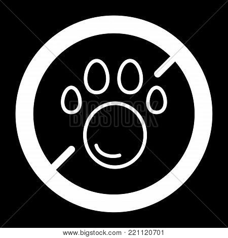 No pets simple vector icon. Black and white illustration of pet paw and forbidden sign. Outline linear pet icon. eps 10