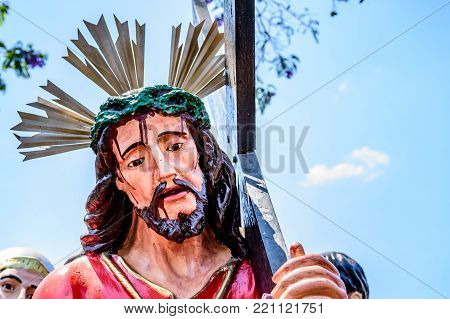 Antigua, Guatemala -  April 13, 2017: Closeup of statue of Christ during Holy Thursday procession in town with most famous Holy Week celebrations in Latin America