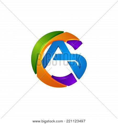 3d circle a or letter ca colorfull initial logo template