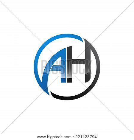 Circle Letter AH vector Initial alphabet Logo design Template white Background