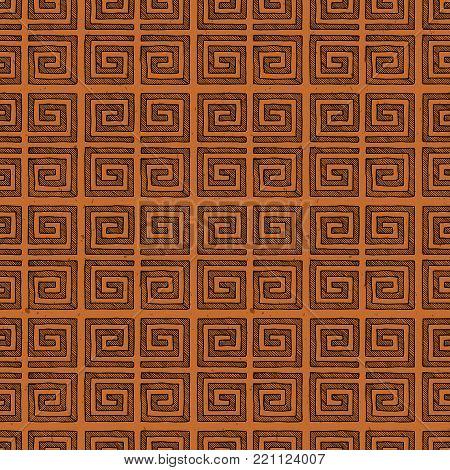 Seamless pattern with Ancient Greek ornament, meander in black-figure pottery painting style.