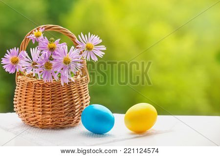 Two Easter eggs on white background and flowers in basket on green blurred background. Selective focus. Close up easter painted eggs. The Concept Of Easter. Side view, horizontal.