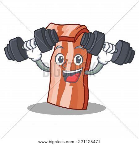 Fitness bacon character cartoon style vector illustration