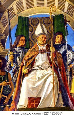 Enice, Italy - September 21, 2017 Santa Maria Gloriosa De Frari Church Saint Ambrose Painting San Po