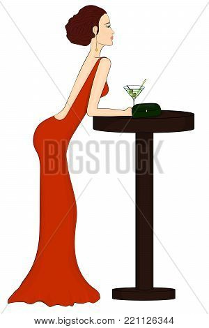 A lonely girl drinks a martini. Woman in a red dress. Loneliness. Girl with alcohol. Red-haired girl. Young slender woman. A tall thin woman. The girl in the bar. Red dress, green bag. Vector EPS 10