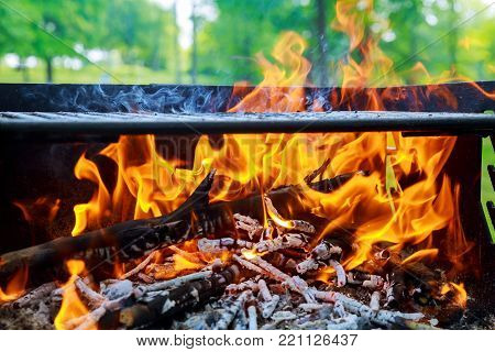 Warm orange bonfire with pieces of wood Burning Flames and Glowing Coal in BBQ fire wood