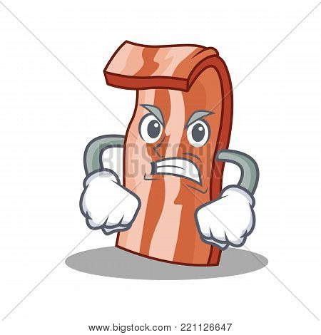 Angry bacon mascot cartoon style vector illustration
