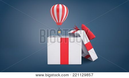 3d rendering of a small striped hot air balloon flying out of a large white gift box with a red ribbon bow. Package tour. Travel gift. Travel coupon.