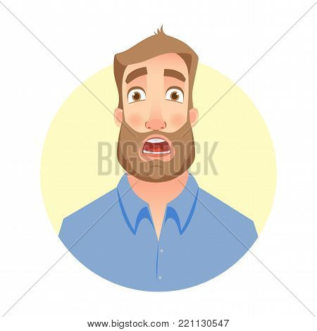 Frightened man. Face of man with beard
