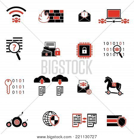 Cybercrime internet network security red with black and white icon. Vector illustration cyber crime online security concept.