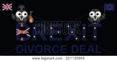Comical representation of the Brexit divorce deal agreement with the United Kingdom paying fifty billion pounds to the European Union following the 2016 referendum to leave the EU poster
