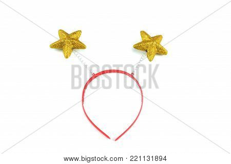 Headband party decoration with golden star isolated on white background