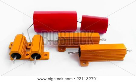 Electronic capacitors against on a white background