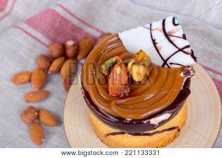 Cake With Cream And Caramel Sauce