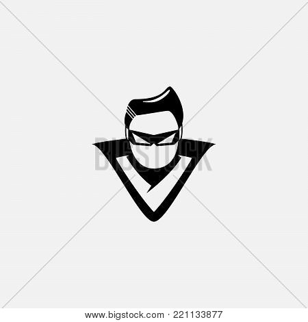 hero head vector logo concept in flat style design. People character. Hero logo. Super logo. Human head logo. Human head icon. Human head character illustration. Design element.