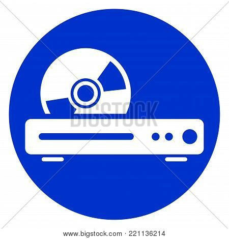 Illustration of blue ray player circle icon