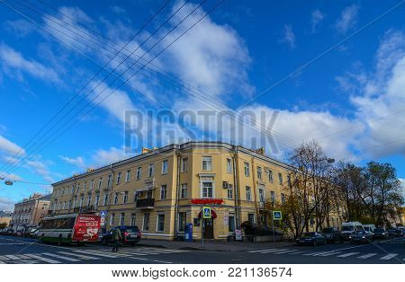 St Petersburg, Russia - Oct 7, 2016. Main street at Pushkin Town in Saint Petersburg, Russia. Saint Petersburg has a significant historical and cultural heritage.