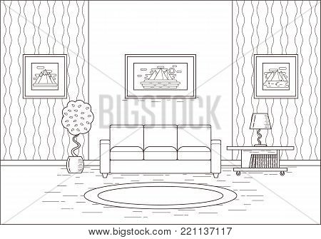 Living room interior. Linear room in flat design. Vector illustration. Line art. House equipment. Outline home space with sofa, coffee table and lamp. Cartoon furniture.