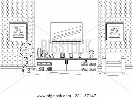Outline room interior. Linear vector illustration. Living room in flat design. Line art. House equipment. Home space with armchair and TV. Black and white cartoon furniture.