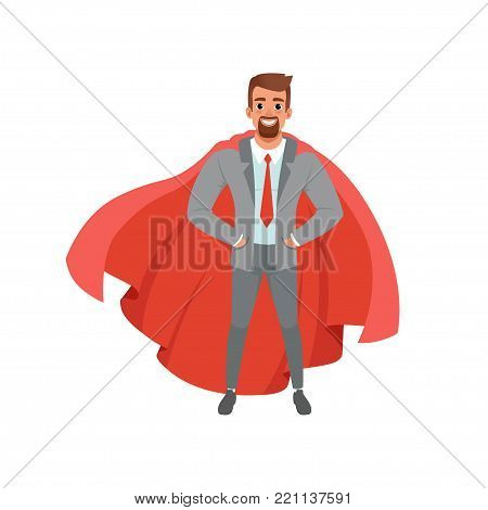 Bearded business man in stylish gray suit, shirt, red tie and superhero mantle. Cartoon male character standing with hands in pockets. Concept of successful office worker. Isolated flat vector design.