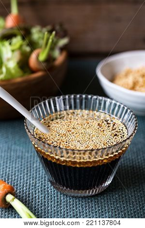 Homemade Japanese Soysauce with toasted Sesame salad dressing