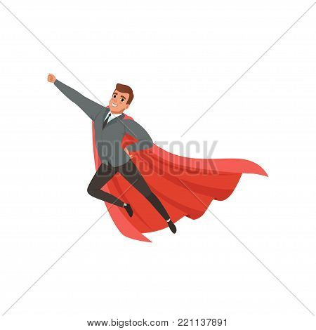 Cartoon character of businessman with superhero mantle flying with hand up. Cheerful caucasian male in classic suit gray jacket, black pants, tie and blue shirt. Office worker. Flat vector design.