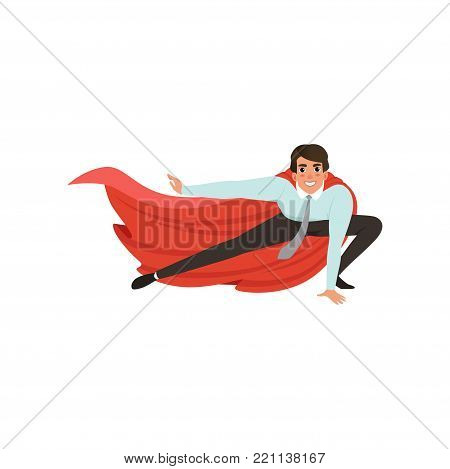 Cartoon business man with superhero mantle in landing powerful action. Young male character in blue shirt, gray pants and tie. Office worker ready to fight for career achievement. Flat vector design.