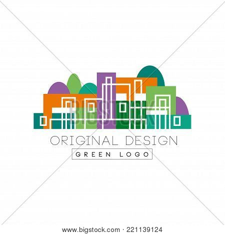 Abstract logo design with linear city buildings against forest background. Colorful vector illustration in flat style isolated on white. Creative design for banner, business card of real estate agency