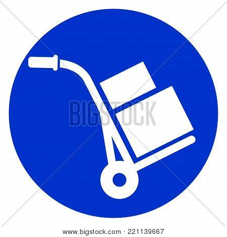 Illustration of hand truck circle icon concept