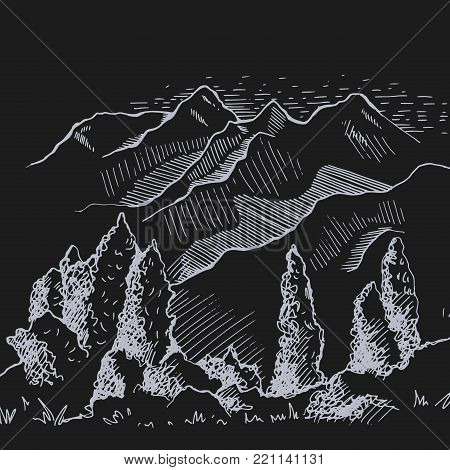 The nature of Kyrgyzstan. Mountains in the distance. Misty poplar in the foreground, beautiful nature. Hand drawing illustration black and white