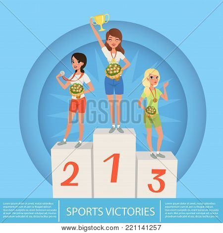 Three female athletes with trophy and medals on pedestal against blue circle background. Sport competition. Awards ceremony. Cartoon young girls characters in sportswear. Colored flat vector design.