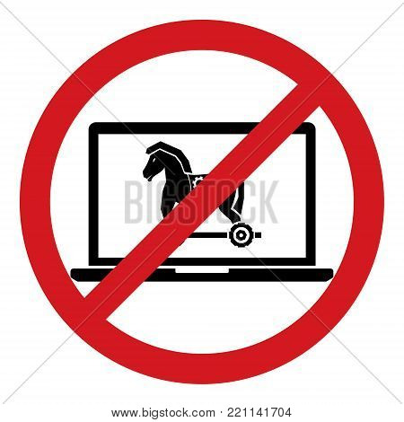 No trojan horse malware virus computer allow restrict sign isolated on white background. Vector illustration prohibited circle design.