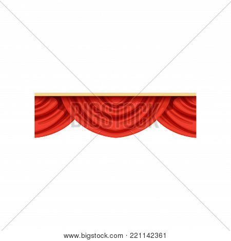 Flat cartoon design element of red pelmets border for theater stage or concert hall. Classical scarlet drapery lambrequins icon for presentation decoration. Vector isolated on white background.