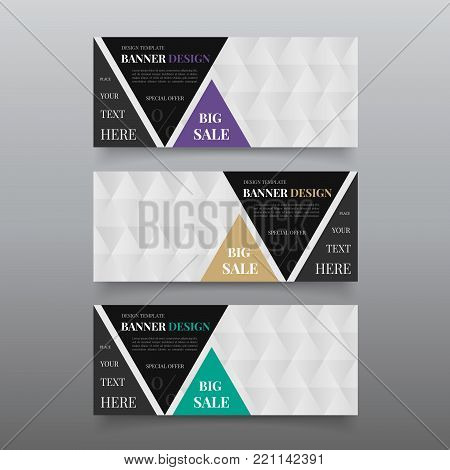 Triangle banner design templates. Web banner design vector. Website banner template with text, button. Business, promotional banners editable.  Company banners advertising. Cta banner ad design.