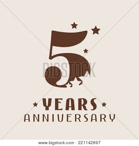 5 years anniversary vector icon, logo. Graphic design element with number and stars decoration for 5th anniversary