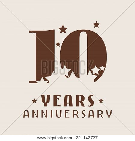 10 years anniversary vector icon, logo. Graphic design element with number and stars decoration for 10th anniversary