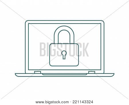 Password security vector icon. Concept protection of user data. Password lock in flat style, without color. Computer security symbol.