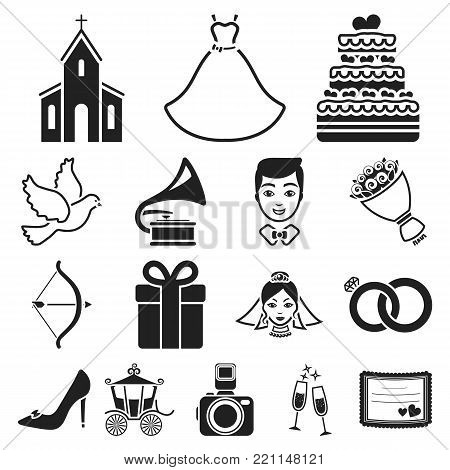 Wedding and Attributes black icons in set collection for design.Newlyweds and Accessories vector symbol stock  illustration.