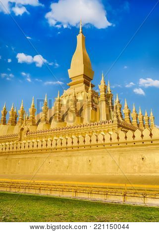 Beautiful view of the Pha That temple. Vientiane, Laos