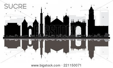 Sucre Bolivia City Skyline Black and White Silhouette with Reflections. Business Travel Concept. Sucre Cityscape with Landmarks.