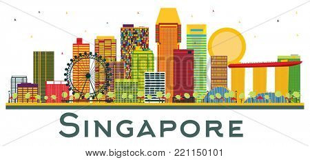 Singapore Skyline with Color Buildings Isolated on White Background. Business Travel and Tourism Concept. Singapore Cityscape with Landmarks.
