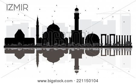 Izmir Turkey City Skyline Black and White Silhouette with Reflections. Business travel concept. Izmir Cityscape with Landmarks.