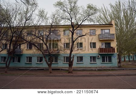 Residenial buildigs of 1960-th.Former Soviet anti-ballistic missile testing range Sary Shagan.At Soviet time - ,st. Soviet 2.Present - Agabay Batyr 2.My former home.May 7, 2017.Priozersk.Kazakhstan