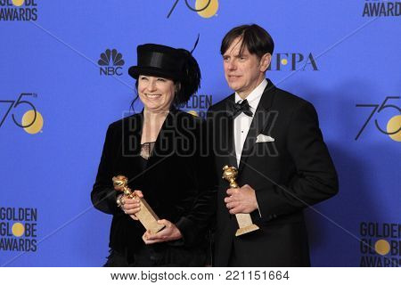 LOS ANGELES - JAN 7:  Amy Sherman-Palladino, Daniel Paladino at the 75th  Golden Globes Press Room at Beverly Hilton Hotel on January 7, 2018 in Beverly Hills, CA