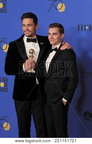 LOS ANGELES - JAN 7:  James Franco, Dave Franco at the 75th  Golden Globes Press Room at Beverly Hilton Hotel on January 7, 2018 in Beverly Hills, CA